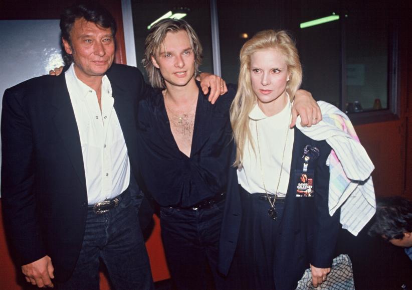 David Hallyday avec son père, Johnny et sa mère, Sylvie Vartan, lors de sa tournée 1991.