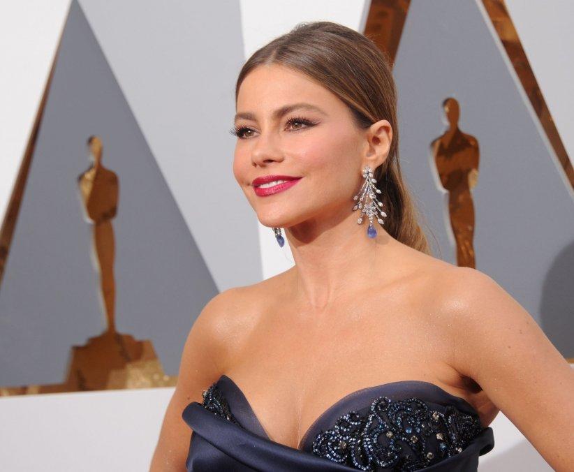 Sofia Vergara prend la pose sur le tapis rouge des Oscars 2016, à Los Angeles, le 28 février 2016.
