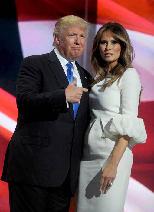 Melania et Donald Trump lors du 1er jour de la convention républicaine à Cleveland aux États-Unis, le 18 juillet 2016.