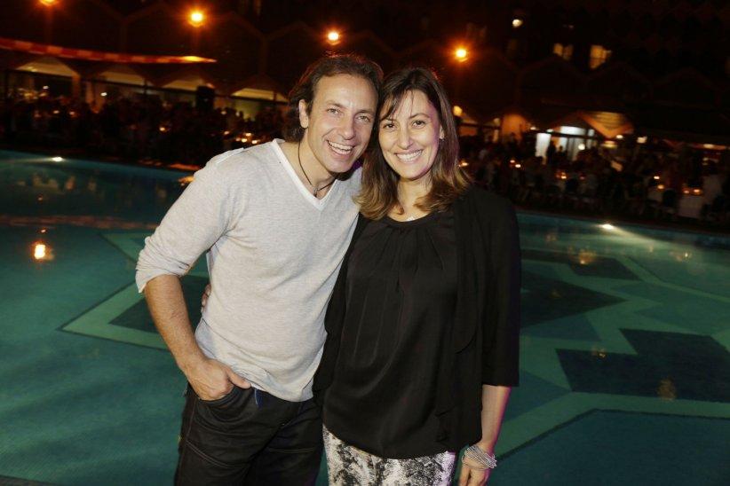 Philippe Candeloro et sa femme Olivia participent à la soirée de clôture du 15e Trophée Roses des Sables à Marrakech, le 17 octobre 2015.