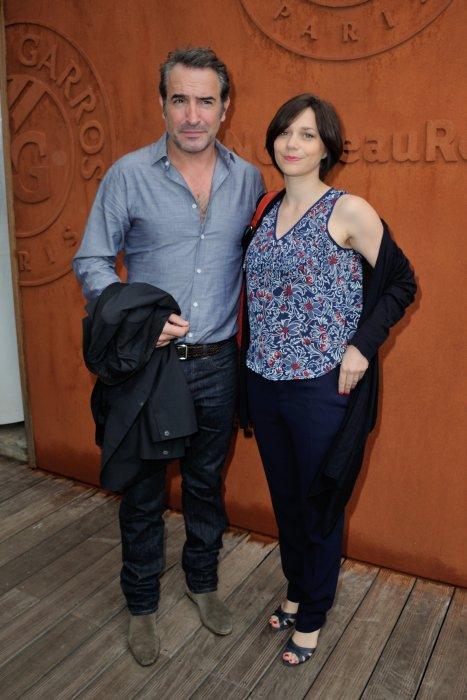 Jean Dujardin et Nathalie Péchalat lors du tournoi de Roland-Garros à Paris, le 5 juin 2016.