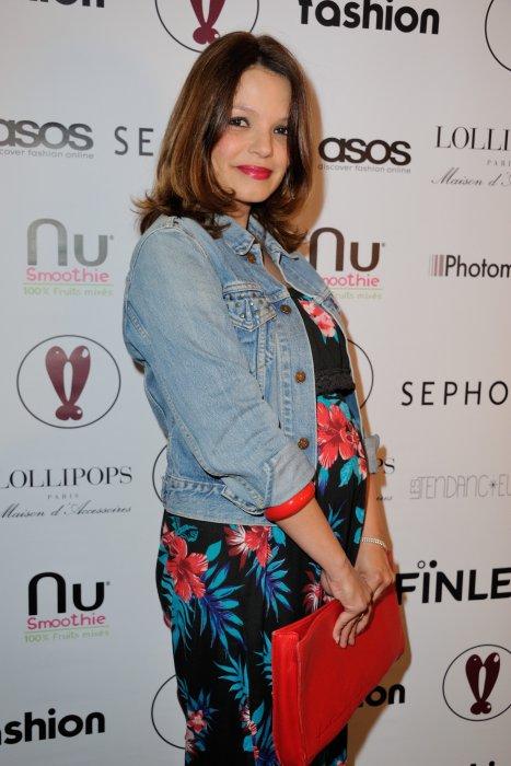 Séverine Ferrer, enceinte, assiste au lancement de la plateforme ASOS à Paris, le 12 mai 2016.