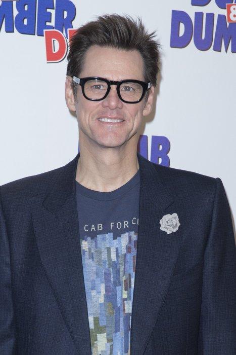 "Jim Carrey lors du photocall du film ""Dumb & Dumber De"" à Paris, le 25 novembre 2014."