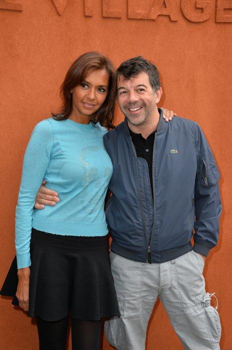Karine Le Marchand et Stéphane Plaza en marge du Tournois de Roland-Garros à Paris, le 1er juin 2015.