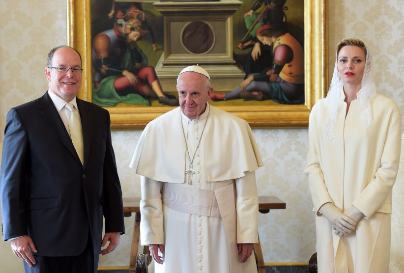Charlène de Monaco, Albert II de Monaco et le Pape François