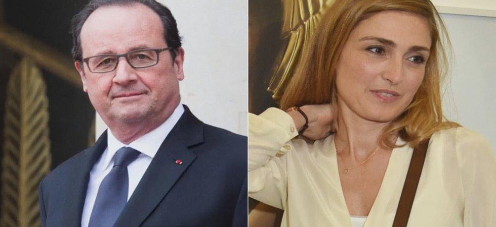 François Hollande et Julie Gayet narguent les photographes lors d'une soirée parisienne