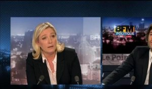 BFM Politique: l'interview du Point, Marine Le Pen répond aux questions de Christophe Ono-dit-Biot - 03/03