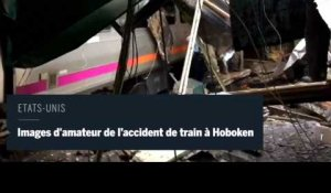 Accident de train d'Hoboken : images amateures du train crashé