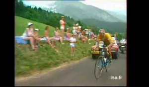 Laurent Fignon s'accroche dans l'ascension de Joux-Plane