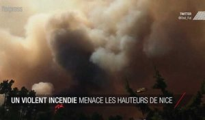 Un violent incendie menace la banlieue de Nice