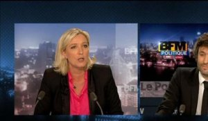 BFM Politique: l'interview de Marine Le Pen par Christophe Ono-dit-Biot du Point - 09/06