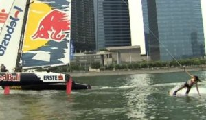 Wakeboarding behind a Sailboat - Extreme Sailing Series 2013
