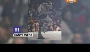 Kanye West rips his pants during show performance