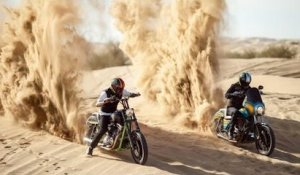 Best riders perform massive jumps on sand dunes