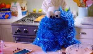 Cookie Monster loses his patience while baking cookies
