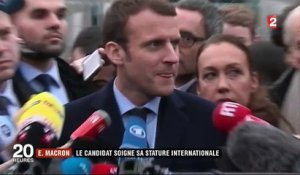 Rencontre Merkel-Macron : le candidat soigne sa stature internationale
