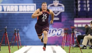 Chris Lindstrom runs an unofficial 4.92 40-yard dash at 2019 combine