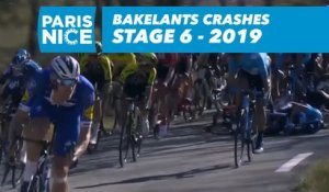Bakelants crashes in the descent / Bakelants chute dans la déscente - Étape 6 / Stage 6 - Paris-Nice 2019