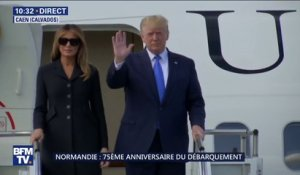 D-Day: Donald Trump descend de son avion à Caen, où il vient d'atterrir