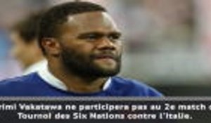 Six Nations - Vakatawa forfait face à l'Italie