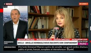 "Coronavirus - Invitée en direct de ""Morandini Live"", Arielle Dombasle raconte son confinement sur CNews - VIDEO"