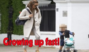 Pippa Middleton looked chic and upbeat as she took Arthur for a London stroll