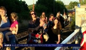 Rennes : un tracteur percuter par un train