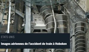 Images aériennes de l'accident de train à Hoboken