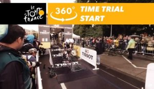 Nikias Arndt starts the time trial - 360° - Tour de France 2017
