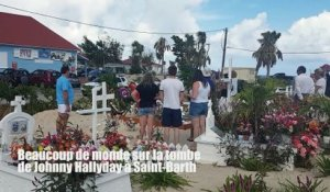 Saint-Barth: beaucoup de monde sur la tombe de Johnny Hallyday