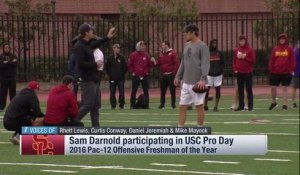 Mike Mayock reacts to Sam Darnold's arm strength