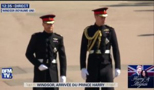 Le prince Harry arrive avec son frère William à la chapelle Saint-Georges
