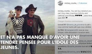 "PHOTO. ""Johnny, je t'aime"" : Mickey Rourke n'oublie pas son ami rockeur"