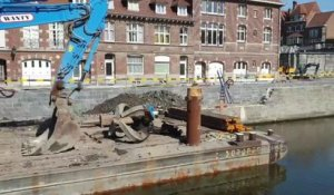 Travaux le long des quais de l'Escaut à Tournai