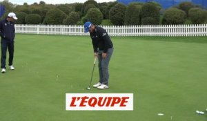Au putting avec Romain Langasque - Golf - Open de France